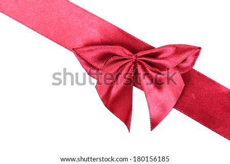 Ribbon with bow isolated on white background. Stock photo