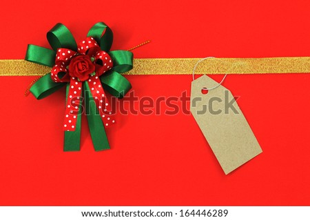 ribbon with bow on red background