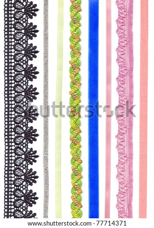 Ribbons and braid. Colorful collection isolated on a white background.