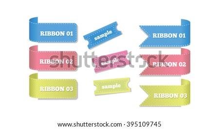 Ribbons and Etiquettes Isolated on White