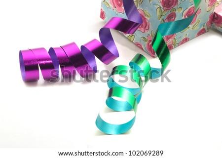 Ribbons and gift box-2 - stock photo