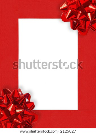 Ribbons&Bows Christmas Frame (with clipping path for easy background removing if needed) - stock photo