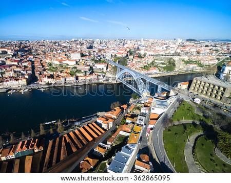 Ribeira District and Dom Luis Bridge View from Vila Nova Gaia, Porto, Portugal - stock photo