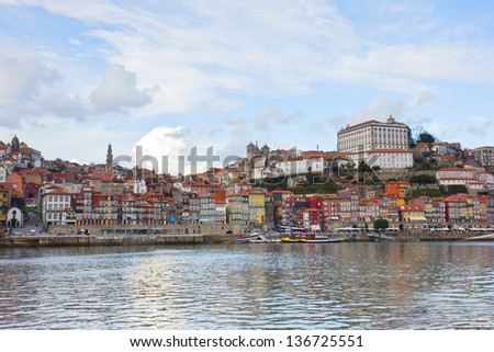 Ribeira embankment and Douro river in old Porto , Portugal