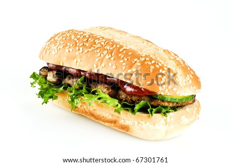 Ribeye steak in sesame seed bun isolated over white background - stock photo