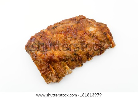 Ribs bbq pork isolated white background