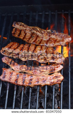 Ribs grilling over a fire - stock photo