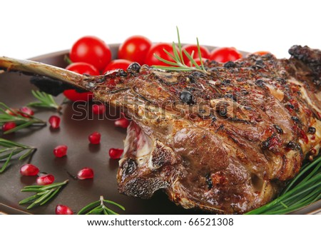 ribs on plate isolated over white background - stock photo