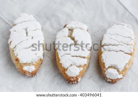 Ricciarelli, almond cookies from Siena - stock photo