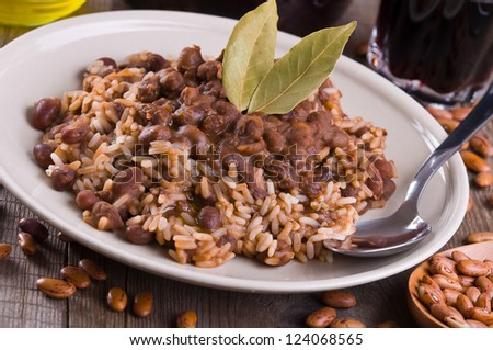 Rice and beans. - stock photo