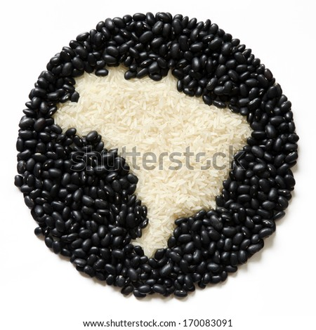 Rice and beans  Brazilian food. Map of Brazil. - stock photo