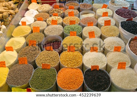 Rice and Beans Groceries in Bulk Bags at Market - stock photo