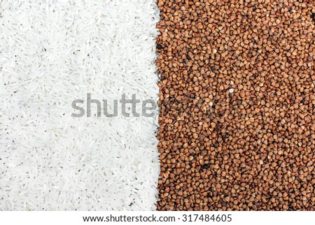 rice and buckwheat groats texture - stock photo