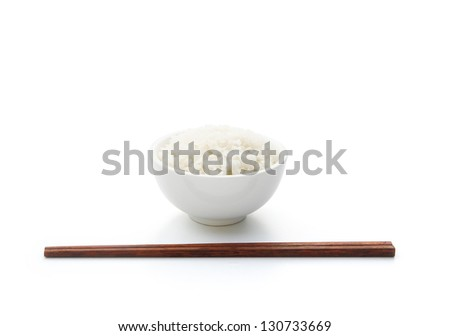 rice and chopstick on white with clipping path - stock photo