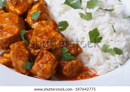 Rice and chunks of chicken curry on a plate closeup horizontal