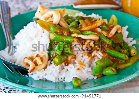 rice and curry - stock photo
