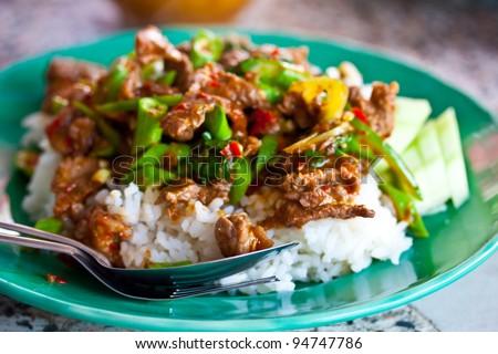 rice and curry (stir basil) thailand - stock photo