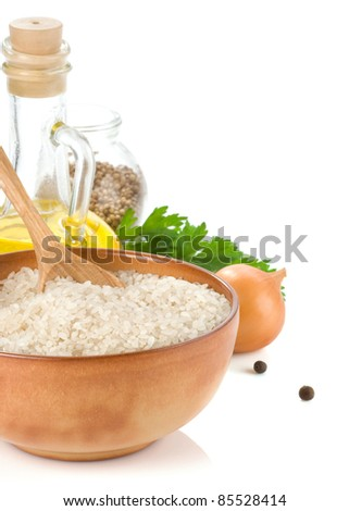 rice and food ingredient isolated on white background - stock photo