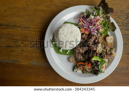 rice and Fried beef with oyster sauce Thai style - stock photo