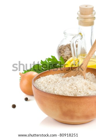 rice and healthy food isolated on white background - stock photo