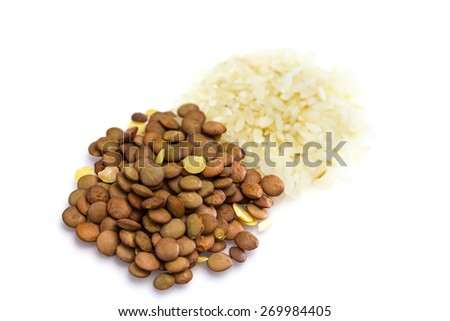 Rice and lentil isolated on white background - stock photo