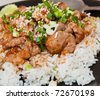 Rice and pork japanese style - stock photo