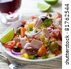 Rice and tuna salad with olives and vegetables - stock photo