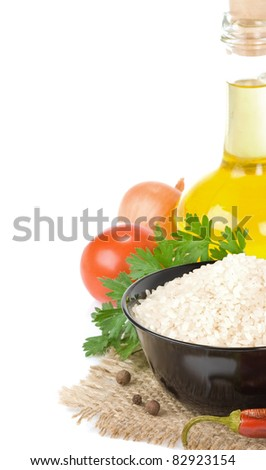rice and vegetable isolated on white background - stock photo