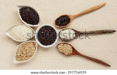 Rice and wooden spoon set
