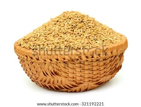 rice basket isolated on white background - stock photo