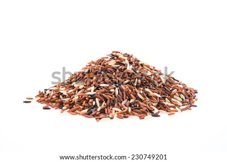 Rice brown isolated on white background - stock photo