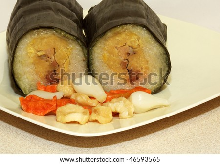 Rice Cake and Fermented Vegetable on the plate