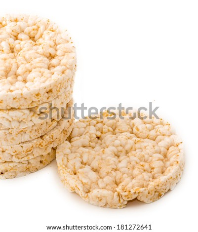 Rice cakes over a white background