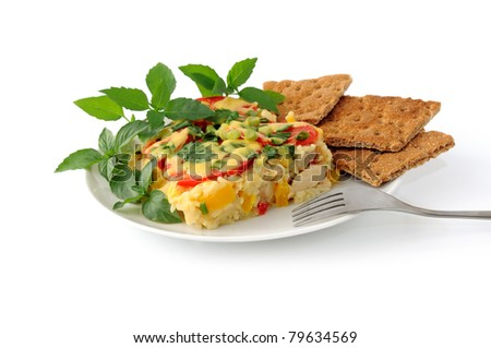 Rice casserole with vegetables Chicken fillet and cheese isolated - stock photo