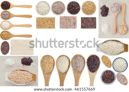 Rice collection on white background