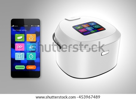 Rice cooker and smart phone isolated on gray background. 3D rendering image.