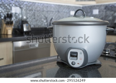 rice cooker gray - stock photo