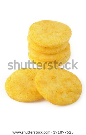 rice crackers on white background