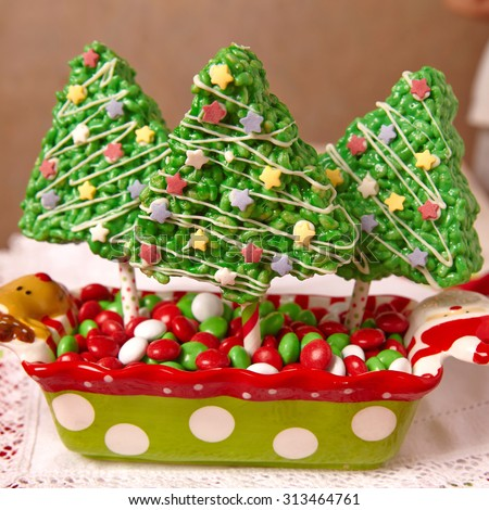 Rice crispy bars decorated for a Christmas - stock photo