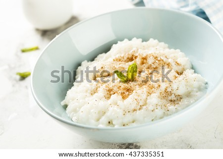 Rice dessert or Milchreis with cinnamon - stock photo