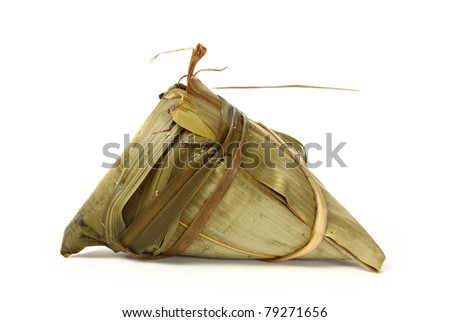 Rice dumpling on white background - stock photo
