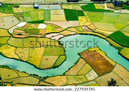 Rice field in valley in Bacson, Langson, Vietnam  - stock photo