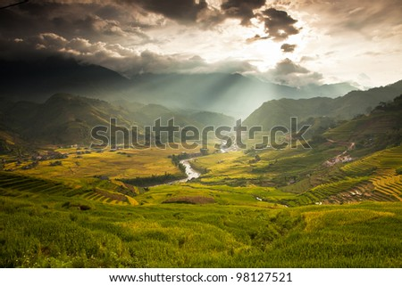 Rice field terraces at  Sapa Vietnam - stock photo