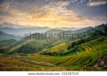 Rice fields on terraced of Mu Cang Chai, YenBai, Vietnam - stock photo
