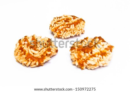 Rice fired and sirup on top / Thai snack food - stock photo