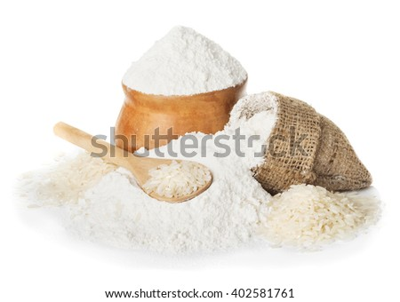 Rice flour and rice in bowl isolated on a white background closeup - stock photo