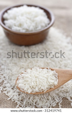 rice grain in wooden spoon and cooked rice on jute cloth. jasmine rice. jasmine rice grain and cooked jasmine rice. rice grains and cooked rice.