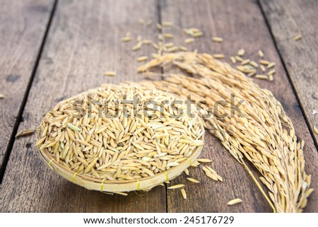 Rice grain on wood - stock photo
