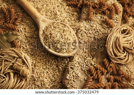 Rice grains, noodles, pasta - health food / healthy diet background.