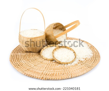 Rice in a basket isolated on white background.